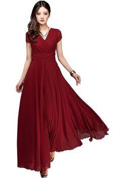 Azbro Elegant Fashion Maxi Surplice Chiffon Dress, Burgundy US6