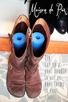 New Master Closet Reveal: some helpful ideas for organizing and decorating small closets at maisondepax.com, like using a pool noodle as a boot form