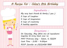 Kid's Cooking/Baking Birthday Invitation. Perfect for Masterchef, Chopped, Kid's Baking Champion Parties! www.sweetdesignsbyregan.com This listing is for a DIY printable file. I will send you this as a PDF and a JPEG file. A file will be e-mailed to you. HOW TO ORDER: 1. Purchase this listing. 2. Include ALL your information that you'd like in the invitation in the NOTES TO SELLER (NOTES FROM BUYER) section during checkout. - You need to provide me with al
