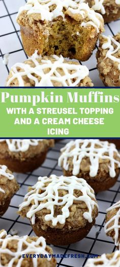 Pumpkin Muffins with a Streusel Topping and Cream Cheese Icing