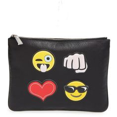 Rebecca Minkoff 'Crazy' Emoji Sticker Set & Clutch ($28) ❤ liked on Polyvore featuring bags, handbags, clutches, black, genuine leather handbags, rebecca minkoff clutches, rebecca minkoff purse, genuine leather purse and leather handbags