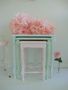 Pastel Coloured, Set of Three, Side Table - Shabby Chic - Vintage 🌸 Shabby Chic Bedrooms, Shabby Chic Furniture, Vintage Furniture, Painted Furniture, Furniture Makeover, Diy Furniture, Office Furniture, Furniture Design, Nesting Tables