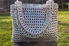 Ficha Pop de brillante plata reciclado Crochet bolsa