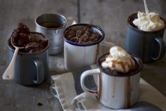 Dessert inspiration ~ chocolate puds featuring our Falcon Enamelware in ice white.