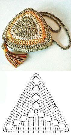 Copie e lucre: Bolsa pequena de fio de malha ⋆ De Frente Para O Mar - Crochet simple - Crochet Coaster Pattern, Crochet Motif, Diy Crochet, Crochet Crafts, Crochet Stitches, Crochet Projects, Crochet Handbags, Crochet Purses, Knitting Patterns