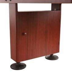 Shop Challenger 9-Ft Shuffleboard Table - Dark Cherry Finish - Overstock - 6217673 Outdoor Shuffleboard, Shuffleboard Games, Mdf Cabinets, Cherry Finish, Table Dimensions, Finger Joint, Wood Bridge, Table Games, Built In Storage