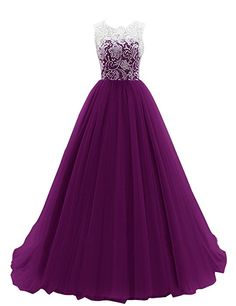 Dresstells Women's Long Tulle Prom Dress Dance Gown with Lace Grape Size 10