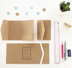 DIY pochette a pli en papier kraft - pocketfold paper Kraft pour faire part mariage thème vintage, kraft & mint