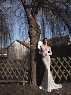 HL Hot Sale Sexy V-Neck Long Sleeve Chapel Train Fashion Lace Mermaid Wedding dresses