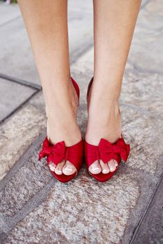 poppy red peep-toe heels