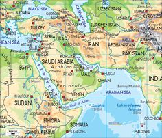 This is a physical map of the Middle East. It shows us the main landforms and waterways of the Middle Eastern countries.