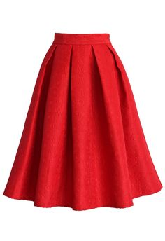 Jacquard Rose Pleated Midi Skirt in Red