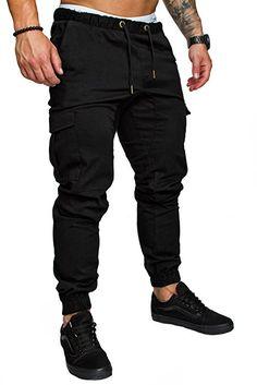 Amaci&Sons Jogger Cargo Herren Chino Jeans Hose 7001 Dunkelgrau W32