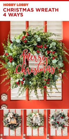 Dress up your space with a new a wreath! Discover all the ways to deck the halls for the holidays this year. Burlap Christmas, Winter Christmas, Christmas Wreaths, Christmas Decorations, Holiday Decor, Decor Crafts, Diy Crafts, Hobby Lobby Christmas, Christmas Floral Arrangements