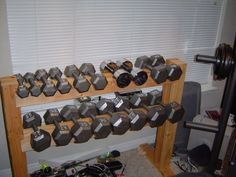 Build DIY dumbell weight rack from wood