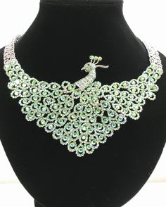 Stunning Peridot AB Peacock Necklace Earrings Set UU | eBay