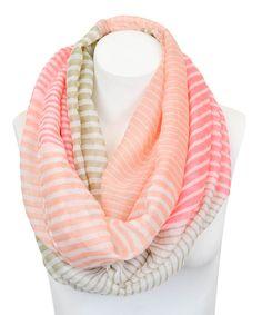 Pink & Khaki Stripe Infinity Scarf