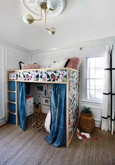 Loft Bed with Floral Fabric