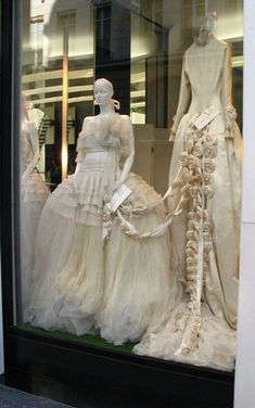 vintage Chanel wedding dresses in Paris shop window