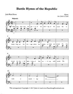 Battle Hymn of the Republic, free easy patriotic piano sheet music.