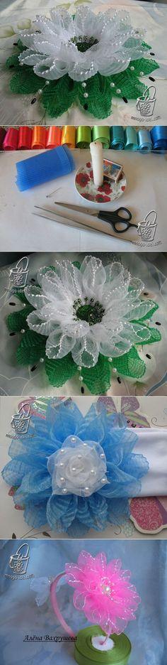 Красивый цветок из гофрированной ленты и мастер класс лепестка