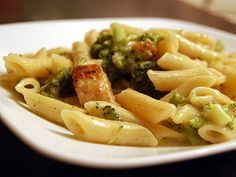 Chicken and Broccoli Pasta in Roasted Garlic, White Wine, and White Cheddar Sauce