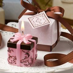 """Brown and Pink Gift Box Collection Box Candle Wedding Favors are a Gift inside a Gift Box. Tied with a brown satin bow, these are a great way to say """"thank you"""" to your guests. http://www.favorfavor.com/page/FF/PROD/9447"""
