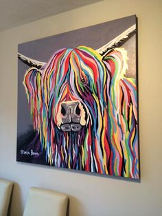 ⭐️ARTIST OF THE DAY⭐️ Good Morning from Telford Picture Framer! Today's featured Artist is Stephen Brown, a well known Scottish Artist who uses very vibrant and bright colours in his work - very popular are his Cow Paintings On Canvas, Oil Painting On Canvas, Oil Paintings, Steven Brown Art, Stephen Brown, Abstract Canvas, Canvas Art, Blue Abstract, Highland Cow Art