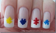 Autism Awareness Puzzle Pieces French Tips- via Nail Treasures