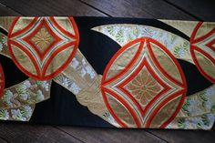 Obi,  Vintage Japanese Silk Fukuro Obi, Great as a Table Runner, Valance, or Pillow and Bag Material, Orange and Black, Free  Air Shipping by KominkaFabricsJapan on Etsy