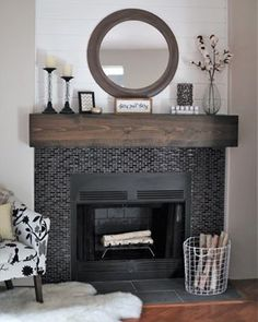 From Cluttered to Classy – A Rustic Glam Fireplace Makeover / Decorating Mantl. - From Cluttered to Classy – A Rustic Glam Fireplace Makeover / Decorating Mantle / See the stunnin - Farmhouse Fireplace, Home Fireplace, Faux Fireplace, Fireplace Remodel, Living Room With Fireplace, Fireplace Design, Fireplace Ideas, Modern Fireplaces, Rustic Farmhouse