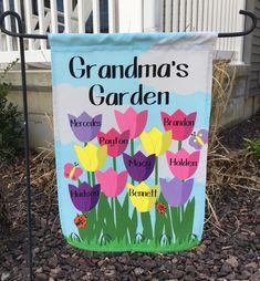 Grandmas Garden, Garden Totems, Tulips Garden, Home And Garden Store, Little Gardens, Mermaid Coloring, Mom And Grandma, Flag Stand, Perfect Mother's Day Gift