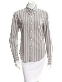 Band of Outsiders Striped Button-Up Top