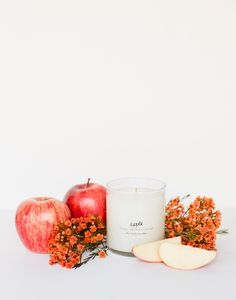 """- Description - Natural Ingredients - Artisan - Artisan Video Enjoy the fragrance of a juicy, sweet apple picked right from the tree. * Approximately 8 ounces * 3 """"tall, 3.5"""" diameter * Approximate bu"""