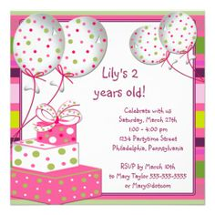 Pink Ballons Girls 2nd Birthday Party Personalized Announcement