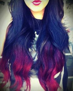 Thick and wavy. Brown/black and red ombre. Thick and wavy. Brown/black and red ombre. Love Hair, Great Hair, Gorgeous Hair, Awesome Hair, Beautiful Gorgeous, Twisted Hair, Hair Chalk, Ombre Hair, Red Ombre