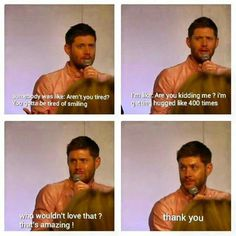 awwwwww Jensen <3 #Asylum14    this is one of the reasons why I love him ♥◡♥ Hugs & Kisses