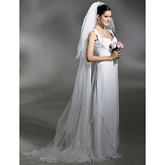 Wedding+Veil+Three-tier+Cathedral+Veils+Pencil+Edge+Pearl+Trim+Edge+102.36+in+(260cm)+Tulle+White+IvoryA-line,+Ball+Gown,+Princess,+–+USD+$+6.99
