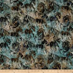 Kaufman Artisan Batiks Santa Fe Trail Horses Aqua from @fabricdotcom  From Kaufman Fabrics, this artisan batik fabric features beautiful abstract mustang horses on a multi-colored background for subtle beauty. It's perfect for quilting, apparel and home decor accents. Colors include shades of brown and blue, black, lavender, purple and shades of green.