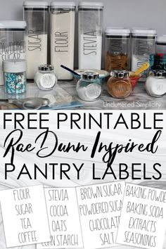 Free Printable Pantry Labels: Farmhouse Rae Dunn Inspired to help you organize your baking supplies. Organize your pantry with this set of free printable pantry labels. If you love farmhouse decor inspired by Rae Dunn, you'll love these printable labels!