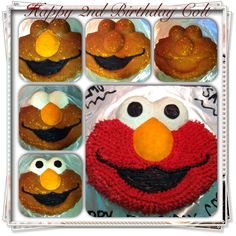 Demi, Elmo birthday cake *instead of buying the pan, two cupcakes for eyes and a cupcake top for nose?*