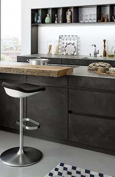 concrete cabinets industrial chic rustic kitchen from Concrete Kitchen Cabinets Kitchen Island Table, Kitchen Cabinets, Modern Kitchen Design, Modern Design, Concrete Kitchen, Rustic Kitchen, Kitchen Ideas, Industrial Chic, Cool Kitchens