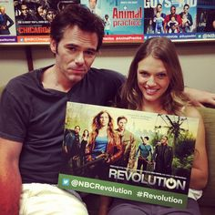 Billy Burke and Tracy Spiridakos at the Television Critics Association press tour for Luke Arnold, Revolution Tv, Tracy Spiridakos, Billy Burke, Michael Hutchence, True Detective, Black Sails, Press Tour, Great Tv Shows