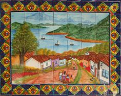 """Custom Tile Mural """"Lake P�tzcuaro""""  It is made of Sixty three ceramic tiles from Mexico. Mural main colors are blue, green and brown #mycustommade"""