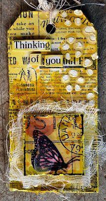 Tag by Belinda Spencer using Darkroom Door Butterfly Post Collage Stamp and Gazette Background Stamp.
