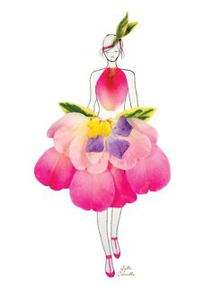 """Fashion Illustrations With Real Flower Petals As Clothing. """"made of real flower"""""""
