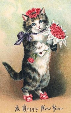 Vintage New Year Card - Cat & Flowers Happy New Year Greetings, New Year Greeting Cards, New Year Card, Birthday Greetings, Images Vintage, Vintage Cards, Vintage Happy New Year, Animal Gato, Art Carte