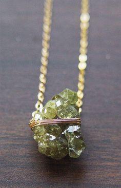 SALE 25% OFF: Peridot Chrystal Necklace Gold OOAK by friedasophie