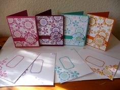 """Simple note cards and matching envelopes.  Button could be replaced with small paper medallion with wording like """"Think of you,"""" """"Happy Birthday,"""" """"Get well soon."""""""