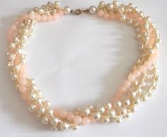 VINTAGE 50 S PINK LUCITE BEADS PEARL BEADED CLUSTER COLLAR STATEMENT NECKLACE